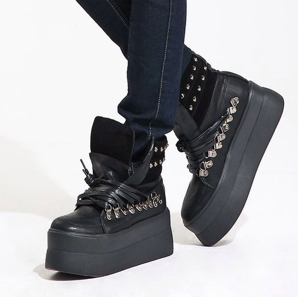 spikes shoes boots lace up platform shoes high heels black harajuku rock leather
