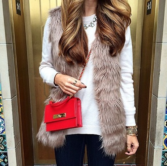 jacket fur vest vest fur