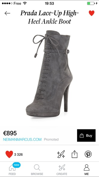 shoes boots grey heels lace up winter boots ankle boots prada
