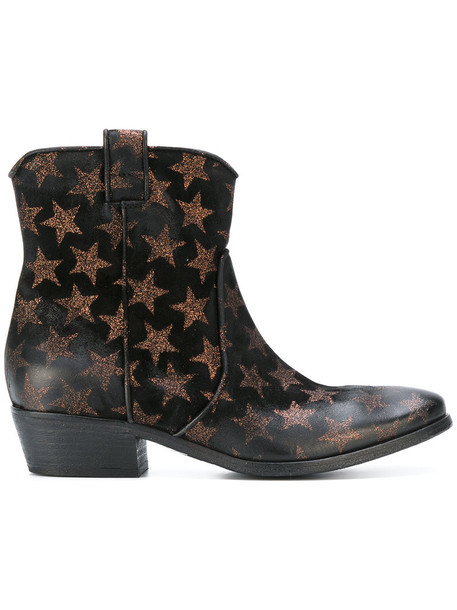 western boots women leather print black shoes