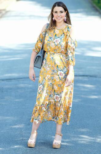 gumboot glam blogger dress bag jewels shoes platform sandals midi dress floral midi skirt spring outfits spring dress