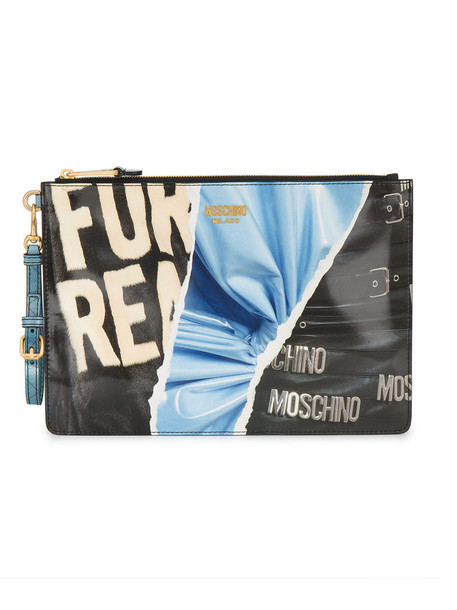 Moschino fur women clutch leather print bag