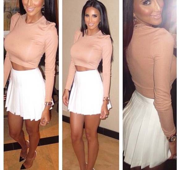 cute long sleeve top nude crop tops party outfit sexy