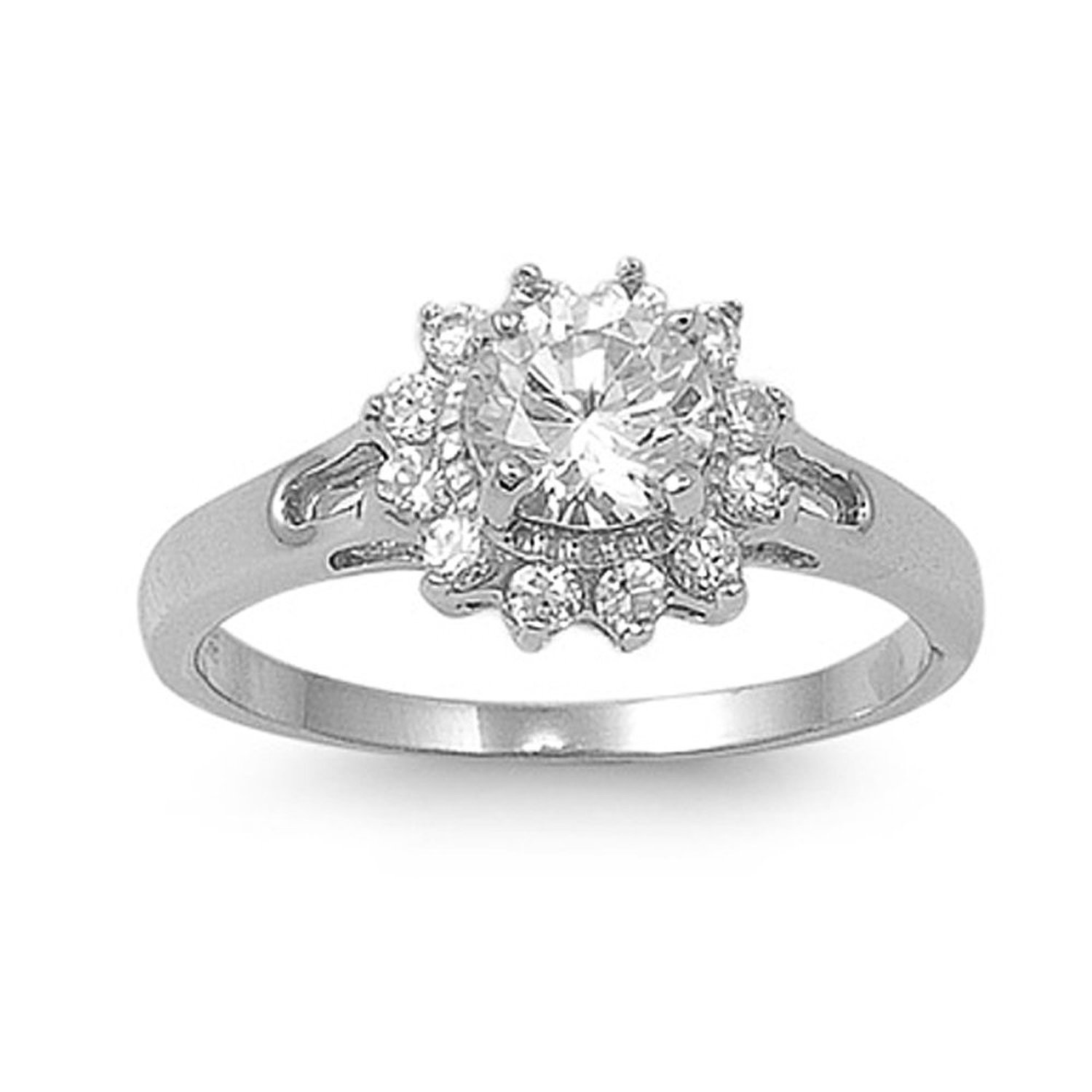 Amazon.com: sterling silver cluster cubic zirconia ring with round clear cz stone: jewelry
