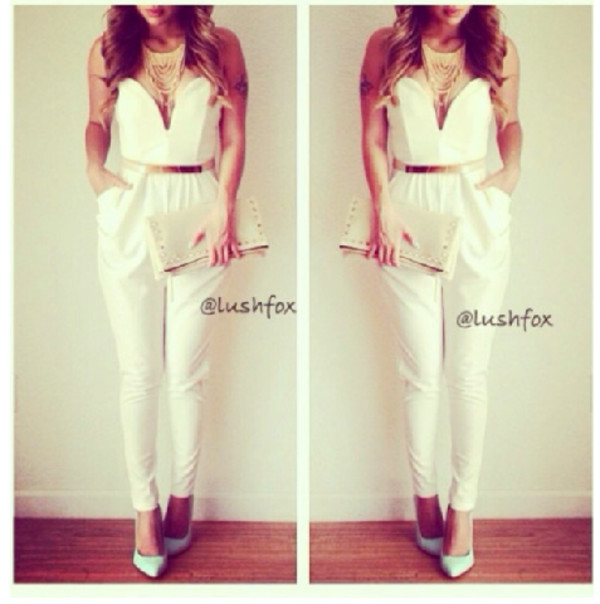jumpsuit white jumpsuit white dress skirt white strapless chic pantsuit romper style blogger fashion blouse jewels bag asymmetrical skirt pencil skirt wrap dress two piece dress set white skirt dress white gold blonde hair shoes belt