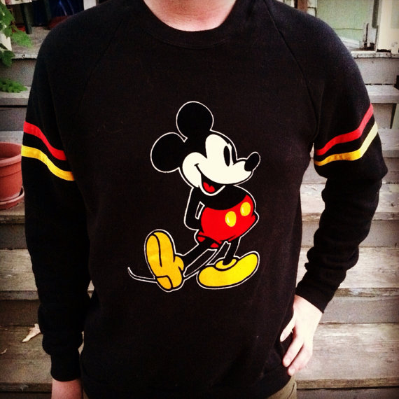Vintage mickey mouse retro striped yellow red by milkandcookieskc