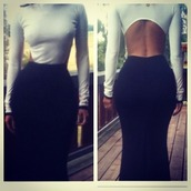 dress,black and white,gown,open back,fishtail skirt,maxi dress