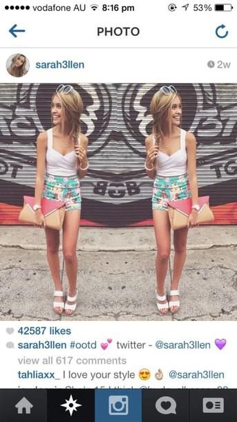 shirt flowers white top purse skirt bag shorts white crop crop tops pants top