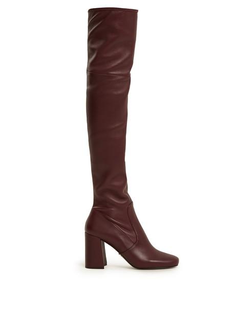 Prada heel sock boots burgundy shoes