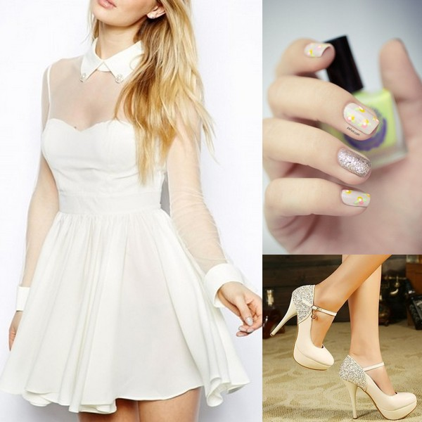 dress white dress party dress outfit fashion short dress heels nails fashion nails pretty back to school student girl