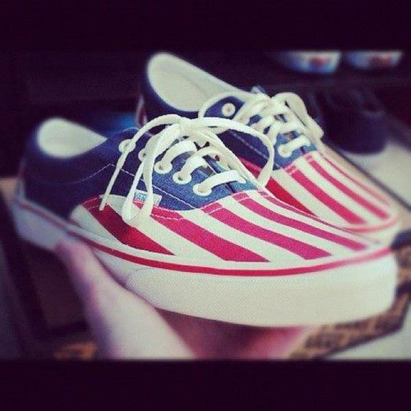 shoes vans stripes blue love red white