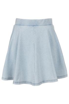 high waisted denim look skater skirts clothing topshop