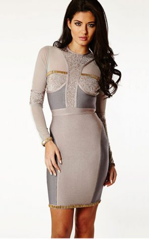 Herve Leger Metal Hardware Long Sleeve Bandage Dress [Long Sleeve Bandage Dress] - $168.00 : Cheap Herve Leger Bandage Dresses, 60% off Herve Leger Clothing Online