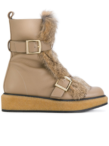 PALOMA BARCELÒ fur women leather brown shoes