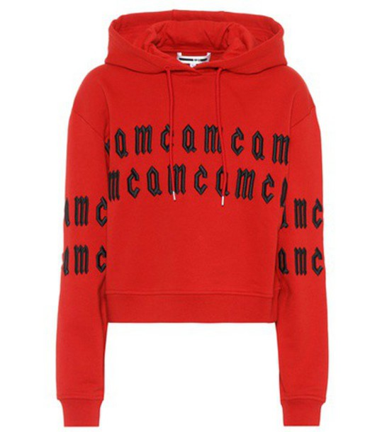 McQ Alexander McQueen hoodie embroidered cotton red sweater