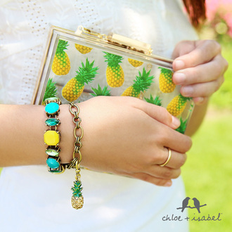 jewels pineapple pineapple print bracelets charm charm bracelet summer summer accessories beach accessory beach outif beach summer outfits yellow yellow stone blue blue stone turquoise turquoise stone turquoise bracelet yellow bracelet gold bracelet gold charm green shiny love pineapple swimsuit neon handbag purse pineapple purse pineapple handbag ring gold ring classy classic chloe chloe and isabel isabel birds bird logo bag
