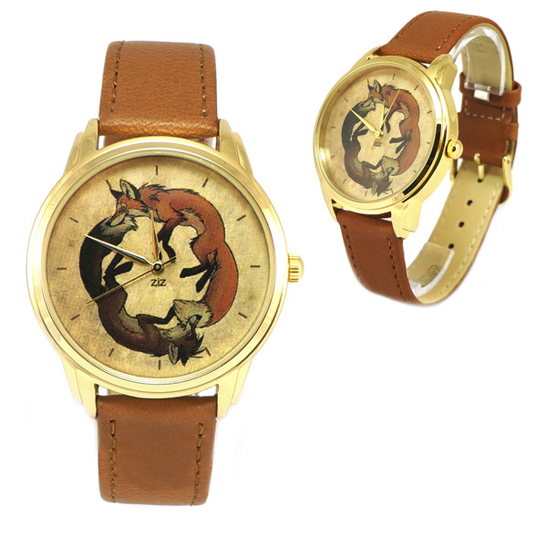 jewels funny watch unusual watch leather watch unique watch designer watch beautiful watch ziz watch ziziztime yin yang