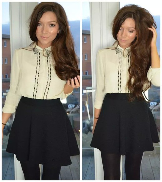 studs blouse creme colored sparkles colar neck long sleeve