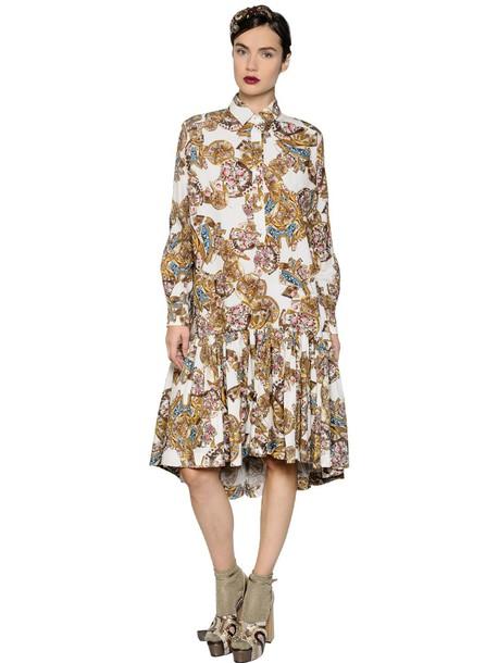 dress shirt dress cotton gold
