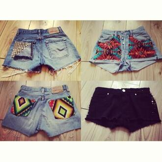 shorts studded aztec levis aztec shorts african print navajo spikes levi vintage denim hipster clothes high waisted short aztec