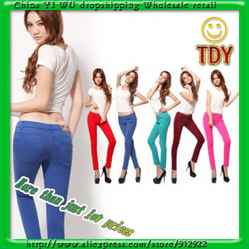 WOMENS SEXY SOLID STRETCH CANDY COLORED SLIM FIT SKINNY PANT TROUSERS HOT points jeans 23 color S XXXL-in Pants & Capris from Apparel & Accessories on Aliexpress.com