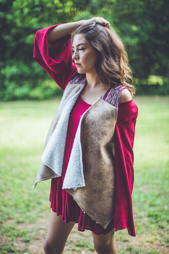 top vest leather leather vest wool vest fur vest fur wool aztec tribal pattern print pattern fall vest autumn vest jacket layer entourage layered embroidered