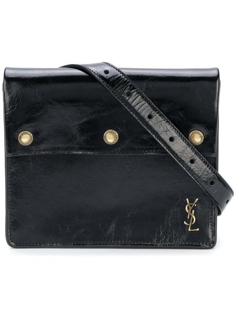 women pouch leather black bag