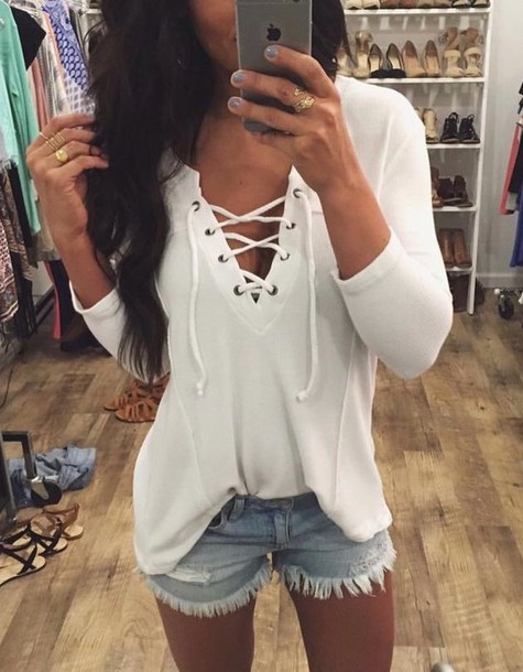 shirt girly outfits tumblr instagram top white long sleeves blouse lace up  top white top f196d68e6