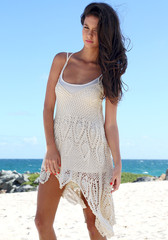 Boho Crochet Maxi Dress - Beige