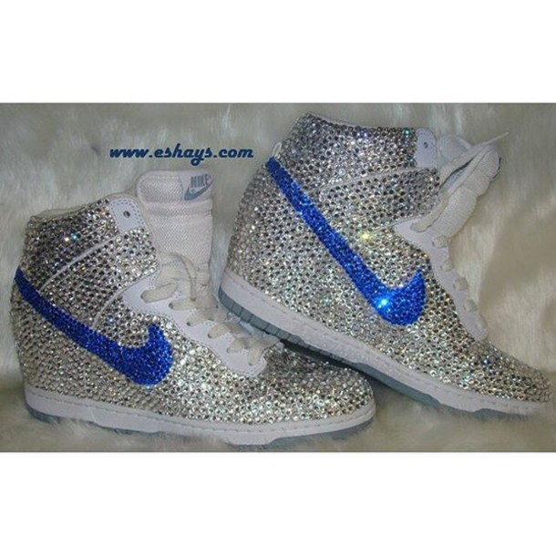 shoes custom fully covered clear and navy rhinestone white nike dunk sky hi  wedge sneaker blue ac79dd8e70cb