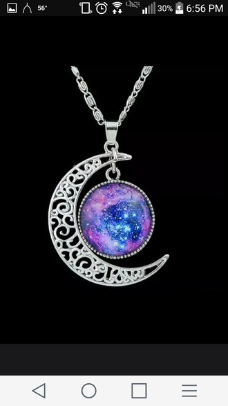 jewels silver silver necklace galaxy necklace moon moon necklace galaxy print moon magik