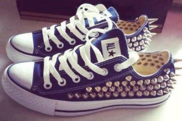 shoes all star converse stud studs blue love studded converse spike converse  gold trainers white lace 34f89ae8b