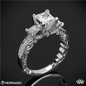Bead-Set Princess 3 Stone Engagement Ring by Verragio | 1803