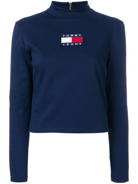 jumper women spandex cotton blue sweater