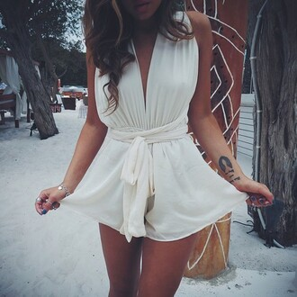romper clothes style jumpsuit white beach summer model cue fashion cute