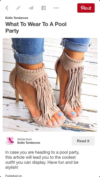 shoes tan fringes high heels open toes