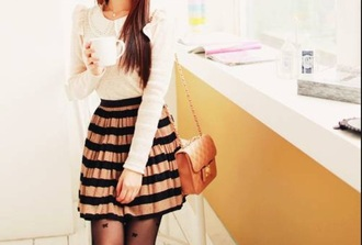 vintage skirt stripes winter clothes winter outfits fashion blouse socks bag