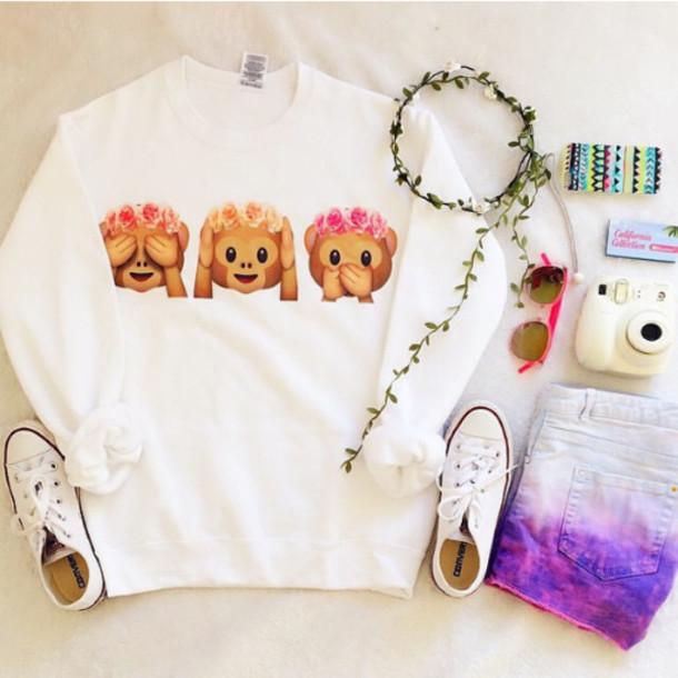 emoji shirt monkey shirt shirt sweater cute fashion girly emoji print hat top tank top sweet monkeys outfit white sweater shorts jacket