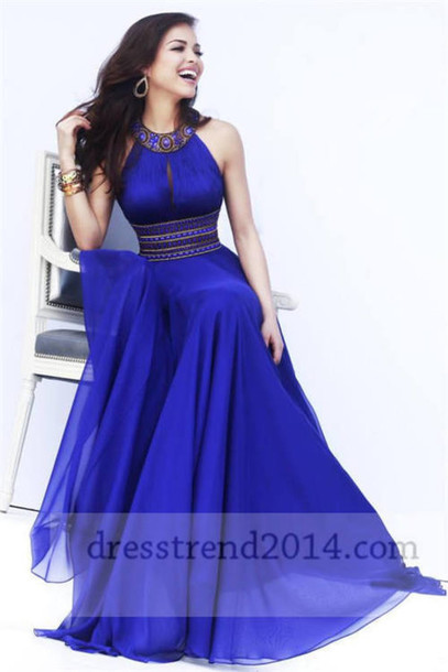 Long Dress Formal Blue Long Dress Neck 2014 Trendy Prom Dress