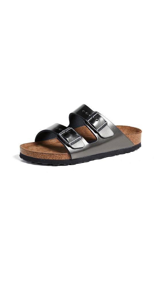 Birkenstock Arizona SFB Sandals in anthracite / metallic