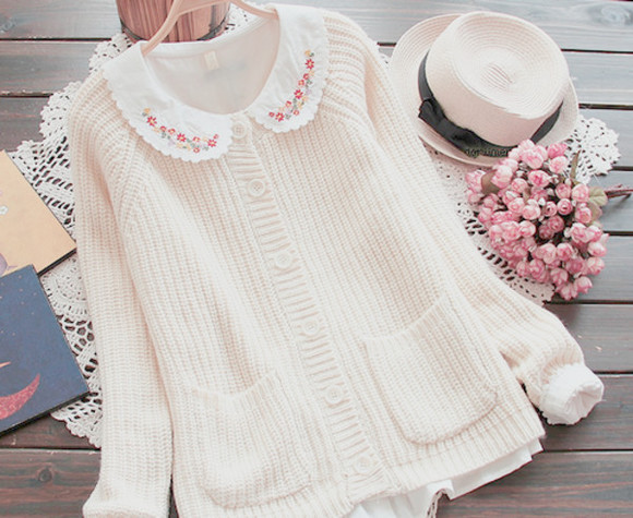 embroidered cardigan knitted cardigan knit socks kawaii