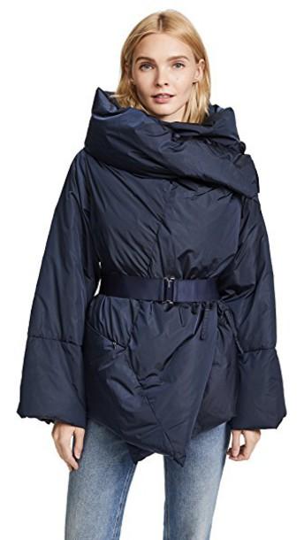 Add Down coat short navy