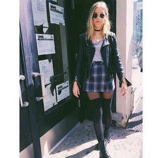 blouse girly outfits tumblr plaid choker necklace 90s grunge leather jacket black skirt sunglasses shoes jewels jacket socks plaid skirt knee high socks chill trendy shirt rock dark goth grunge boots black boots fashion tumblr outfit teenagers spring outfits reb 90s style thigh highs mini skirt