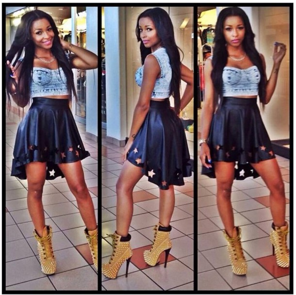 Tank top denim black skirt spikes fly dope urban outfit stylish crop tops timberlands ...