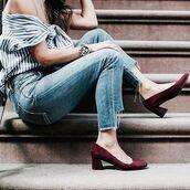 shoes,tumblr,denim,jeans,blue jeans,cropped jeans,top,off the shoulder,off the shoulder top,stripes,striped top,mid heel pumps,burgundy,burgundy shoes,pumps,watch,stripe shirt