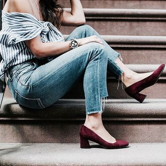 shoes tumblr denim jeans blue jeans cropped jeans top off the shoulder off the shoulder top stripes striped top mid heel pumps burgundy burgundy shoes pumps watch stripe shirt