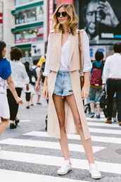 tuula,blogger,coat,blouse,shorts,bag,sunglasses,shoes,sleeveless trench,white shirt,white sneakers,brown sunglasses,distressed denim shorts,denim shorts,shoulder bag,brown shoulder bag