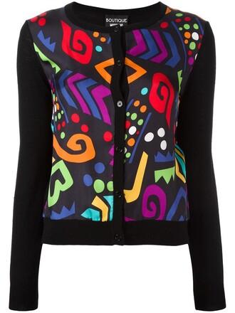 cardigan women black silk wool sweater