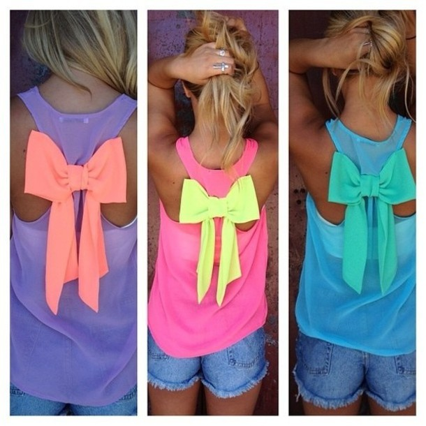 pink tank top bow tank top colorful big bow back bows ladies bow tank top racerback girly top all colours