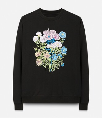 sweatshirt embroidered floral black sweater